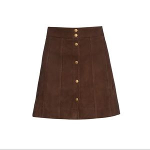 Frame suede leather button down skirt vince theory